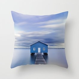 Blue Boat House Throw Pillow