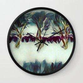 3 Winter Trees Deep Maroon Purple by CheyAnne Sexton Wall Clock