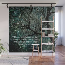 """""""Those Who Dream by Day"""" Owl in Tree with Quote by Edgar Allan Poe Wall Mural"""