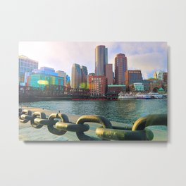 Boston Seaport Skyline Metal Print