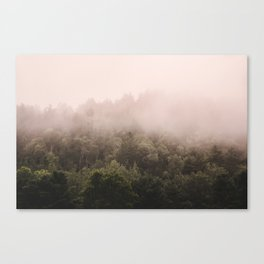 Pink Foggy Forest Landscape Photography Nature Earth Canvas Print