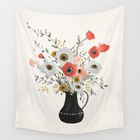poppies Wall Tapestries featuring Poppies by Kelli Murray