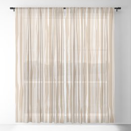 Ligonier Tan SW 7717 Vertical Grunge Line Pattern on White Sheer Curtain