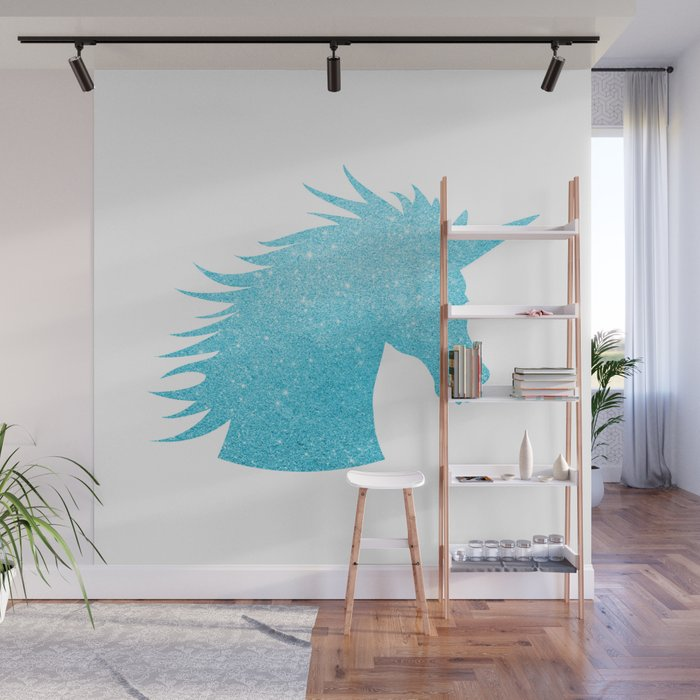 Blue Glitter Unicorn Wall Mural by avenger Society6