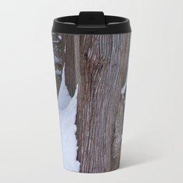 Snowy Pine Burl Travel Mug