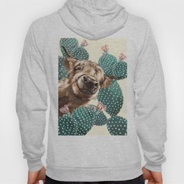 Sneaky Highland Cow and Cactus in yellow Hoody