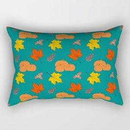 Autumn Leaves and Pumpkins Fall Illustration Pattern Rectangular Pillow