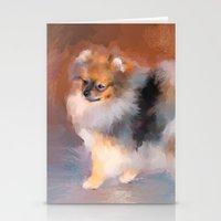 pomeranian Stationery Cards featuring Tiny Pomeranian by Jai Johnson