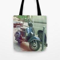 vespa Tote Bags featuring Vespa by MediocreBru