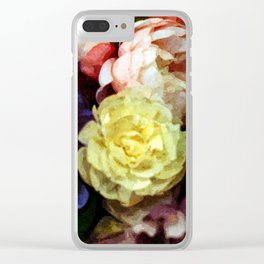 Shabby Chic Flowers Pattern Clear iPhone Case
