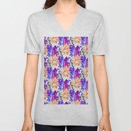 Hand painted orange purple navy blue watercolor cactus floral Unisex V-Neck