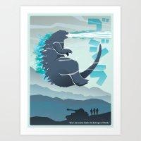 godzilla Art Prints featuring Godzilla by Bringerzl