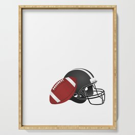 Game On Football and Helmet American Football Design Serving Tray