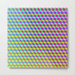 Colorful 3D Cubes Pattern Metal Print