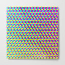 Colorful 3D Cubes Pattern Metal Print