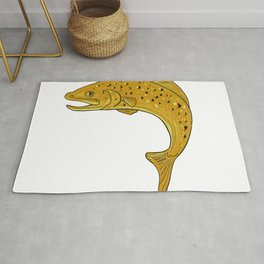 Brown Trout Jumping Drawing Rug