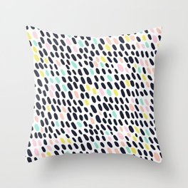 ABSTRACT PASTEL CONTRAST POLKA DOT BRUSH STROKE PATTERN Throw Pillow