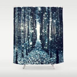 Magical Forest Teal Gray Elegance Shower Curtain