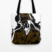 watchmen Tote Bags featuring  Rorschach (Watchmen) by  Steve Wade ( Swade)