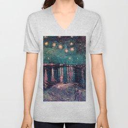 Van Gogh Starry Night over the Rhone deep pastel Unisex V-Neck