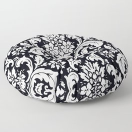 Damask Paisley Black and White Paisley Pattern Vintage Floor Pillow
