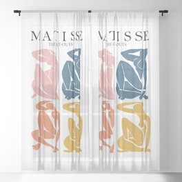 Abstract woman pastel color matisse woman artwork the cut outs Sheer Curtain