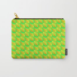 Pyromidal pattern of green squares and striped yellow triangles. Carry-All Pouch