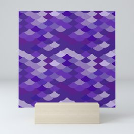 Ultra Violet wave, abstract simple background with japanese seigaiha circle pattern Mini Art Print