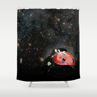 ladybug Shower Curtains featuring LADYBUG by auntikatar