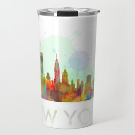 NY-New York Skyline HQ Watercolor Travel Mug