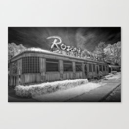 Rosie's Diner Photograph in Infrared Black & White by Rockford, Michigan Canvas Print