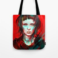 girl Tote Bags featuring Wasp by Alice X. Zhang