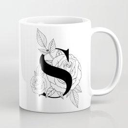 Monogram Letter S with Rose Line Art  Coffee Mug