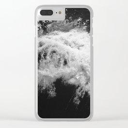 LAKE HURON WAVE B/W Clear iPhone Case