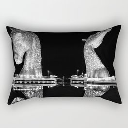 Mythological Kelpies, Horse Sculptures, The Helix, Scotland black and white photograph, 2019 Rectangular Pillow