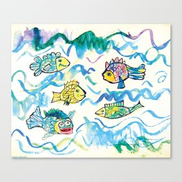 Funny fishes Canvas Print