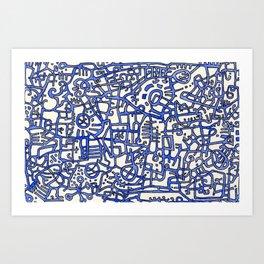 Begin/End Series in Blue Art Print