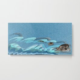 Swiming Otters (c) 2017 Metal Print