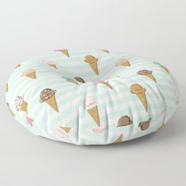 ice cream cones flavors mint stripes food fight apparel and gifts Floor Pillow