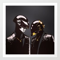 daft punk Art Prints featuring DAFT PUNK by Gregory Casares