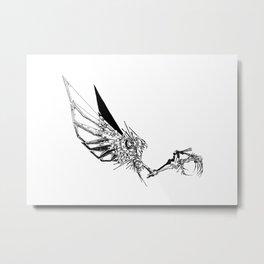 Cyberpunk Owl - line Metal Print