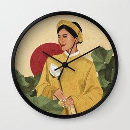 Vietnamese Woman in Lotus Field Wall Clock