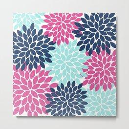 Pink Navy Aqua Flowers, Flower Burst, Floral Pattern, Flower Petals Metal Print