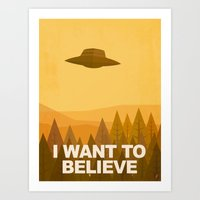 i want to believe Art Prints featuring i want to believe by Jorsh Pena