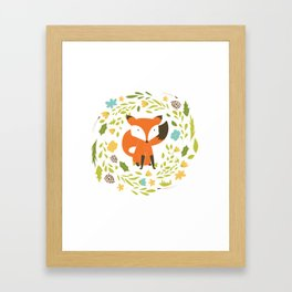 Woodland Fox illustration with cute floral wreath Framed Art Print