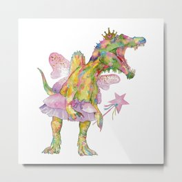 T-rex princess fairy dinosaur painting watercolour  Metal Print