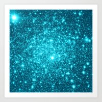 turquoise Art Prints featuring Turquoise Teal Sparkle Stars by Whimsy Romance & Fun