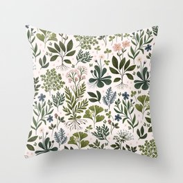 Herbarium ~ vintage inspired botanical art print ~ white Throw Pillow