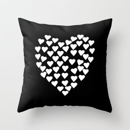 Hearts on Heart White on Black Throw Pillow