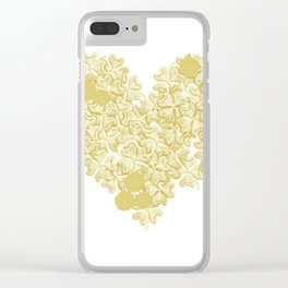 gold clover in romantic heart shape on white Clear iPhone Case